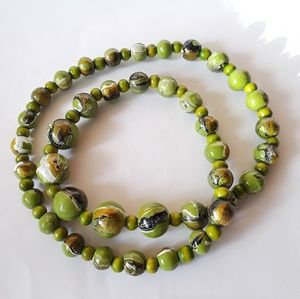 Green Painted Wood Graduated Breaded Long Necklace